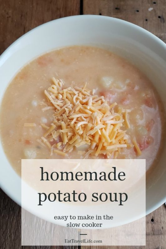 PIN now, Make later. Love in a bowl. Make this delicious homemade potato soup.  Perfect dinner for cold days.  Great to put in slow cooker and have an easy meal.