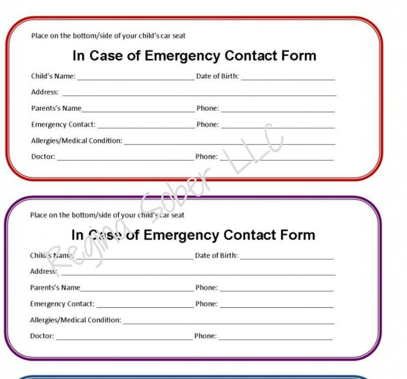 printable emergency contact form car seat