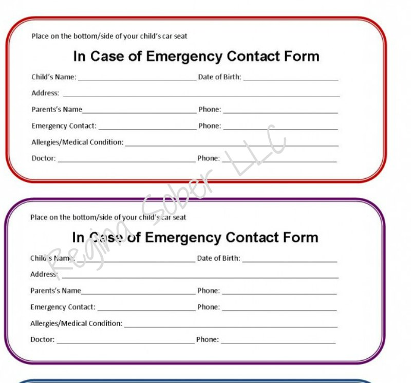 graphic regarding Printable Emergency Contact Form titled printable unexpected emergency call kind for car or truck seat - Try to eat Drive Lifestyle