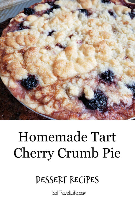 Simple tart cherry crumble pie. The fresh cherries and the sweetness added with the crumble, make it a perfect blend of tart and sweet.