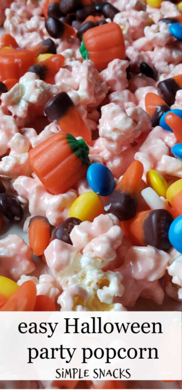 Are you looking for an easy Halloween food idea for kids? This Halloween popcorn is perfect. It's got candy. It's got chocolate. It's hard to stop eating.