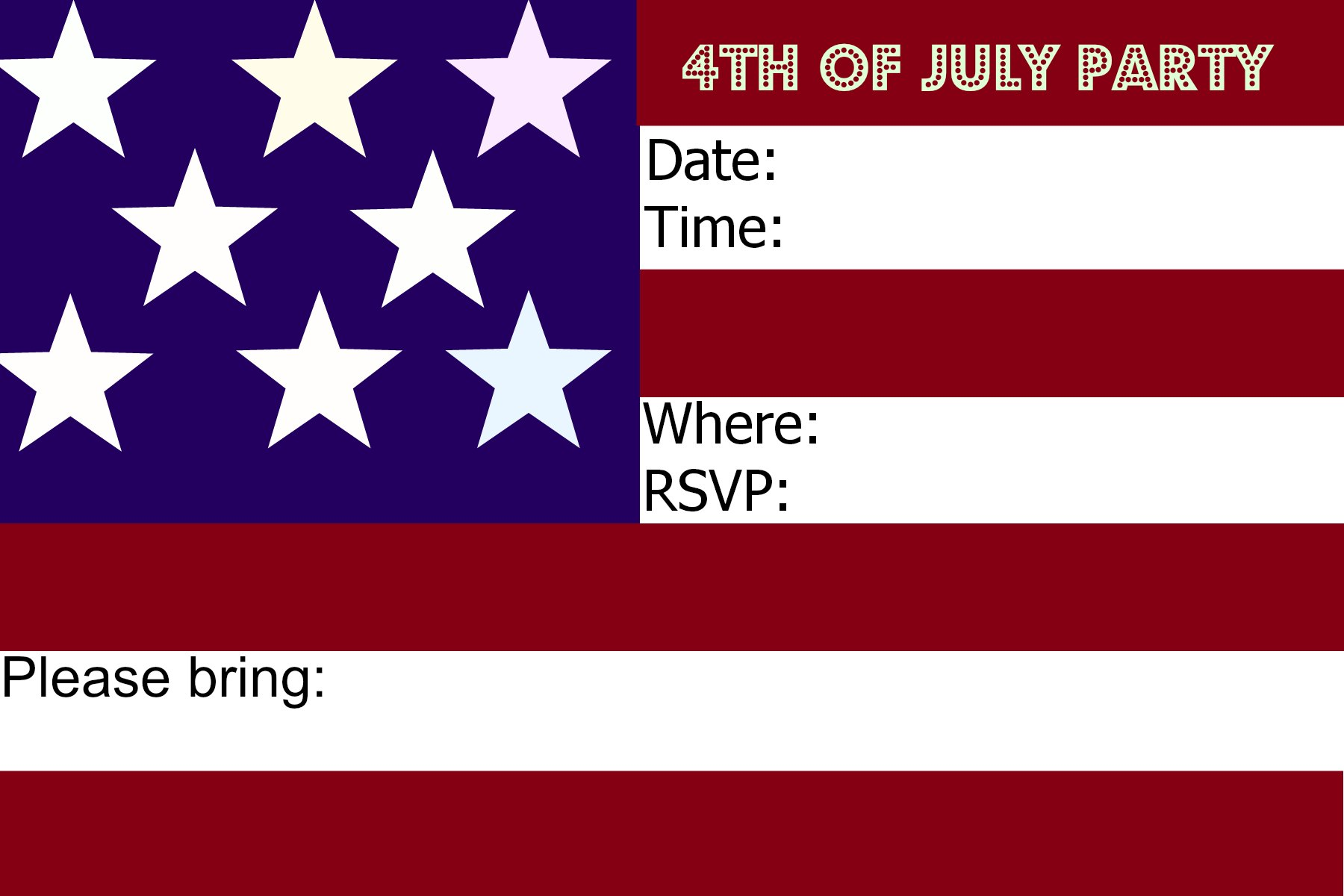 graphic relating to Free Printable Patriotic Invitations identify no cost freedom working day celebration invitation - Try to eat Drive Existence