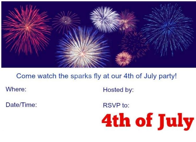 independence day printable invitation