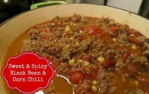 sweet black bean and corn chili