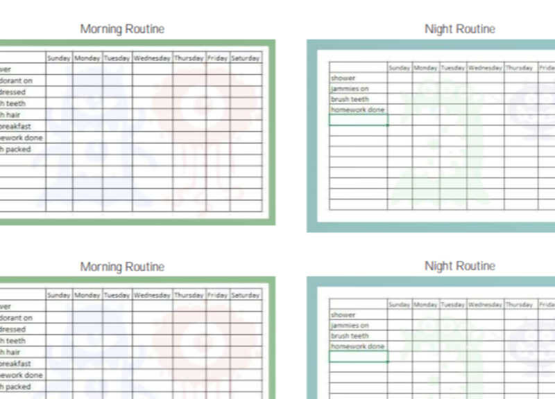 printable routine schedule