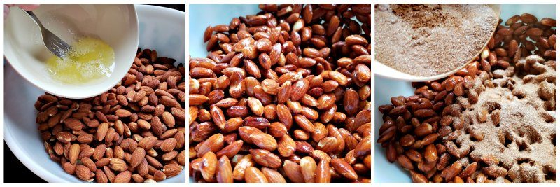 homemade candied almonds (cinnamon sugar almonds) in slow cooker recipe
