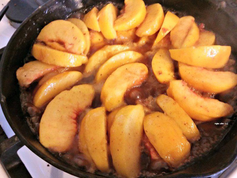 peach cobbler in a skillet