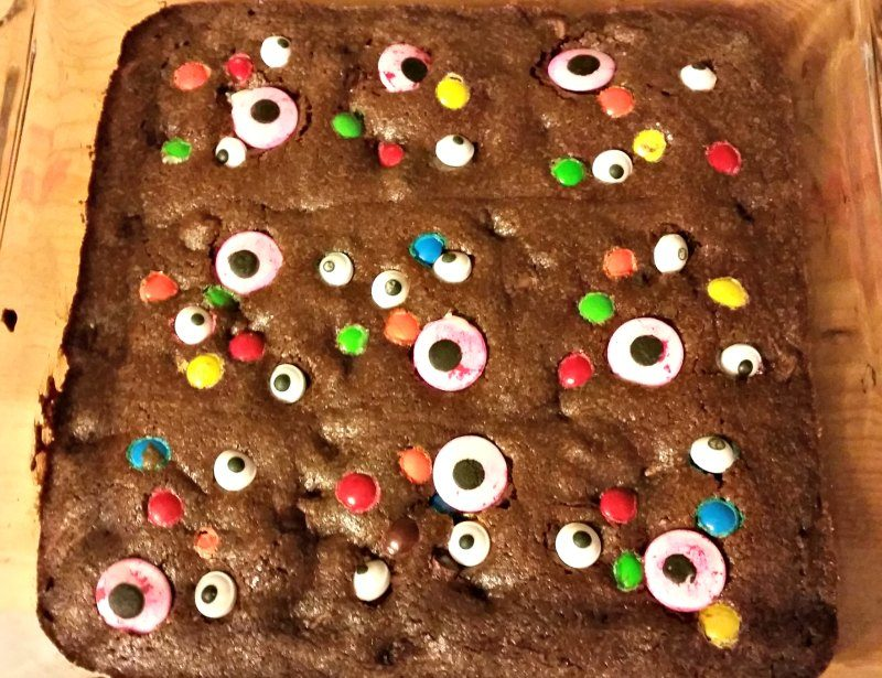 Turn ordinary brownies fun for Halloween. Make eye of newt Halloween brownies recipe for your next Halloween party and win creep factor points.