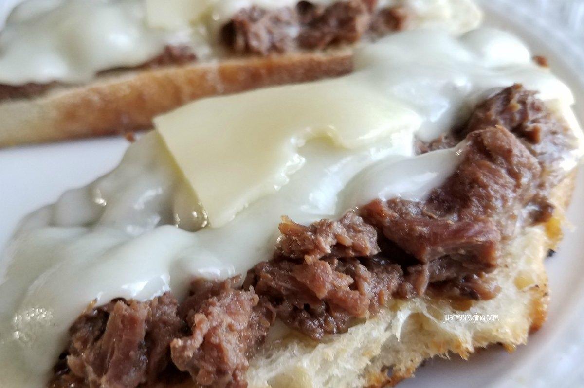 Cast iron open faced beef sandwich