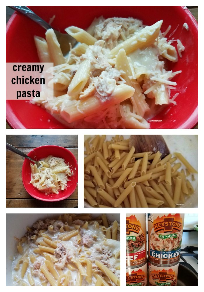 Easy cream chicken pasta made with Keystone Meat. Make making meals quick with cooked chicken. - eattravellife.com