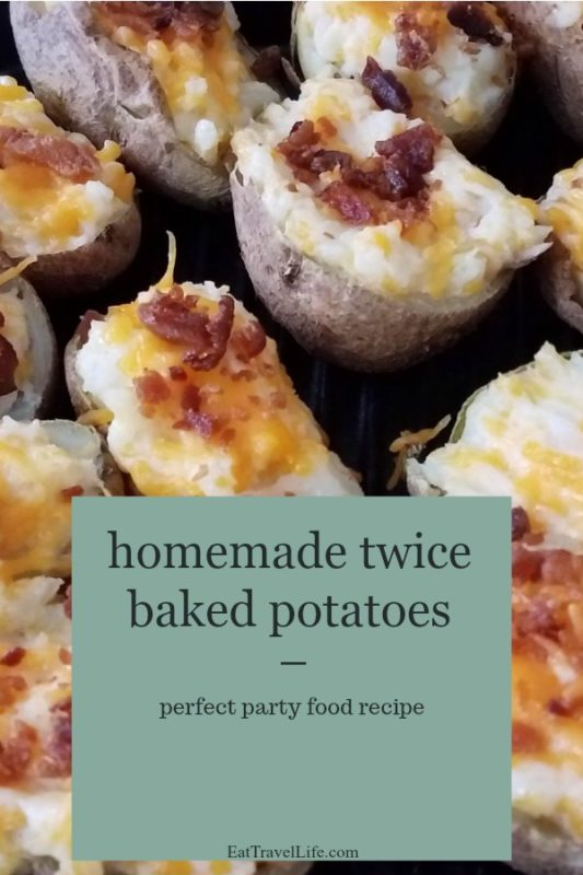 Twice baked bacon potato skins. Simple and easy to make, not to mention cheaper. Great game day food, birthday parties and celebrations.