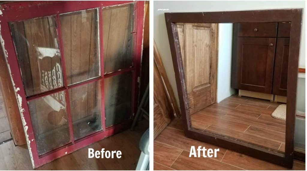 Give a rustic vintage look to your bathroom by converting an old window into a mirror. This is a great DIY shabby chic project. - eattravellife.com
