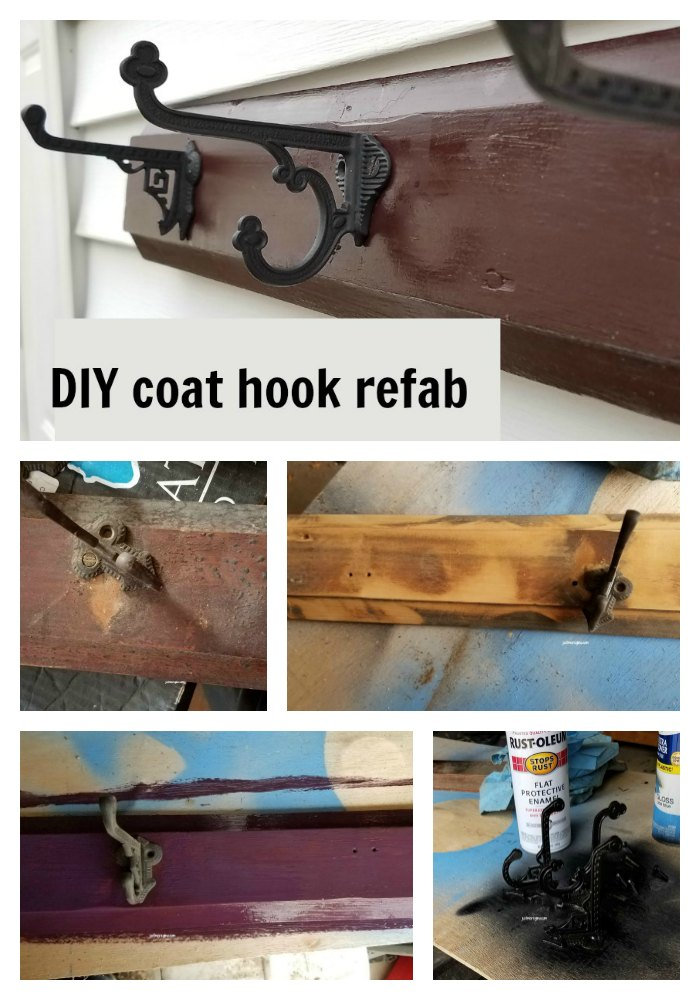 Take an old coat rack and make it new with a little paint. A quick and easy DIY project - Justmeregina.com