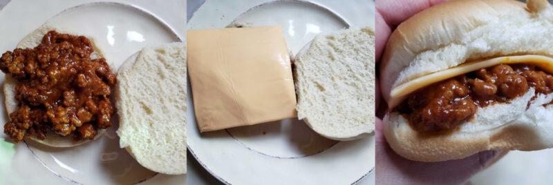 sloppy joe sandwich with cheese