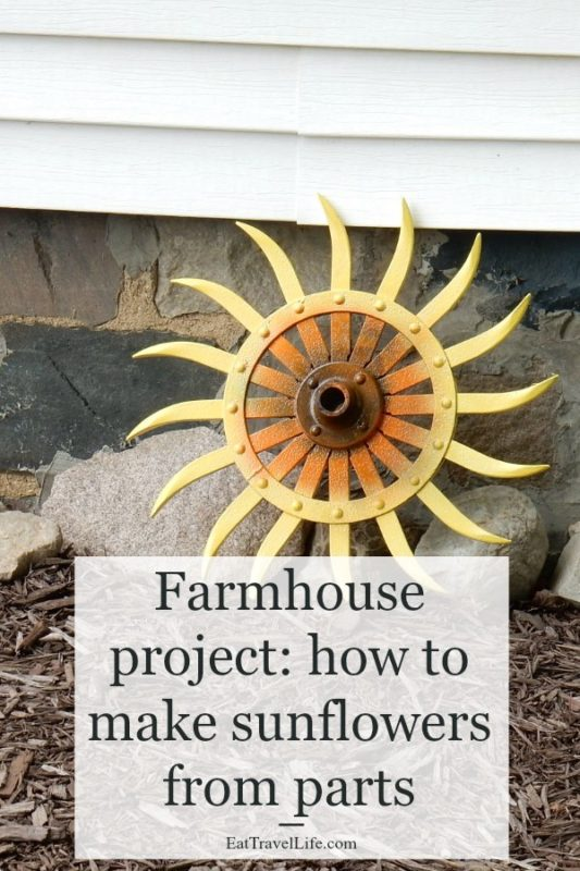 Farmhouse projects are limitless. You can make farm flowers using old farm parts and a little imagination. Farm parts make the best diy projects. You can paint farm parts and make them into flowers. Check out how to make a sunflower.
