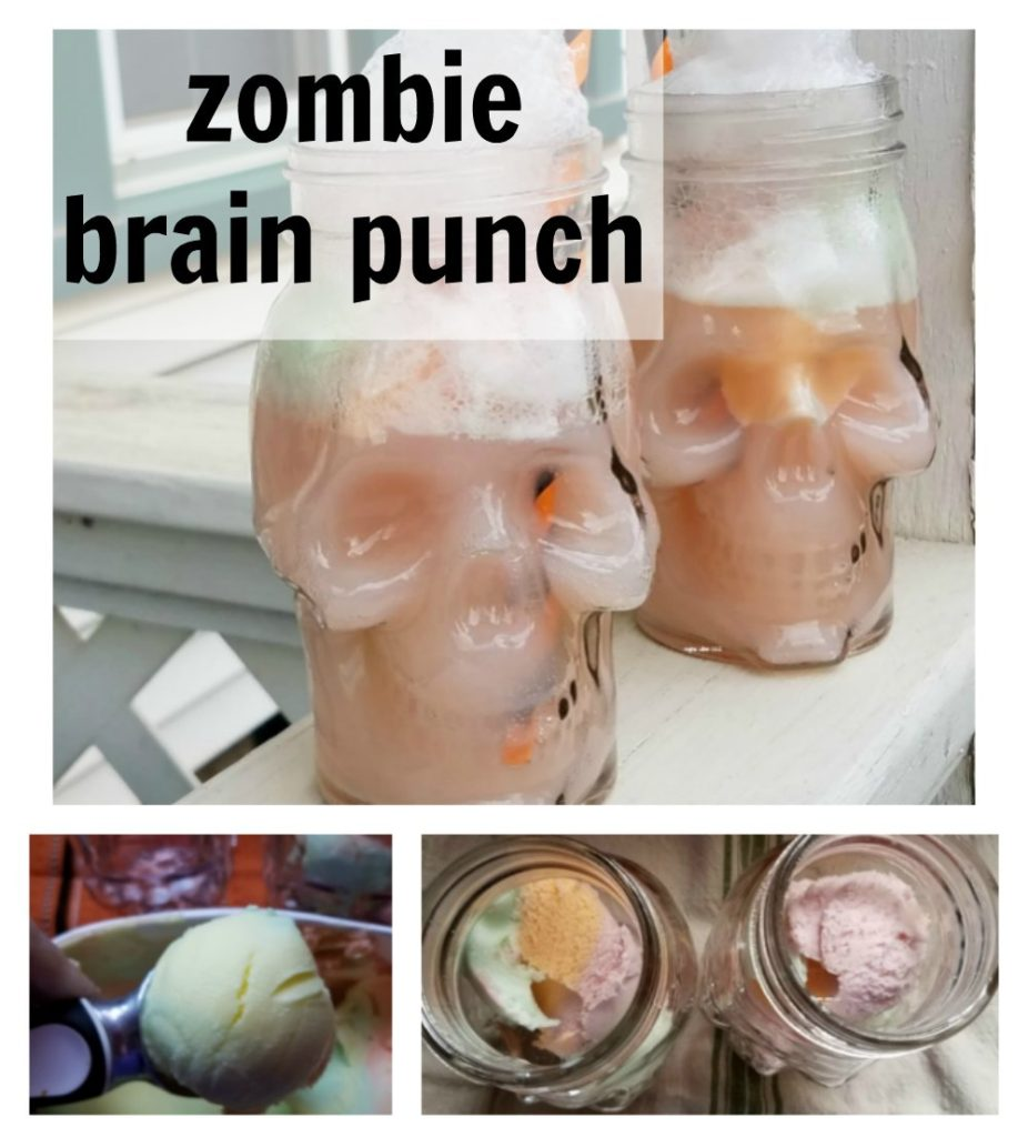 Perfect for your Halloween party, zombie brain punch. So easy to make and kid friendly. Make it by the glass or make a bowl for your guests to enjoy. - eattravellife.com