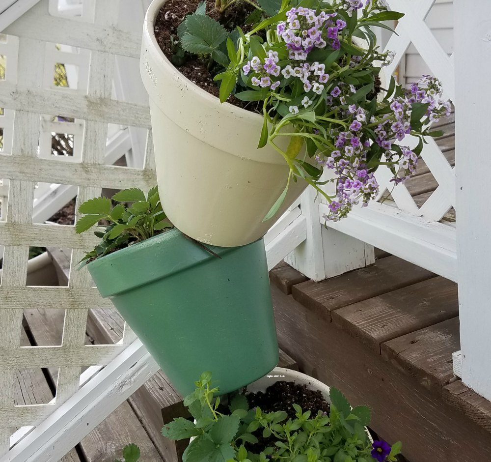 This topsy turvy flower tower project is a fun way to add a unique decoration for the front or side of your home. Put flowers in it, use it as a container garden. Great project to do with your family.