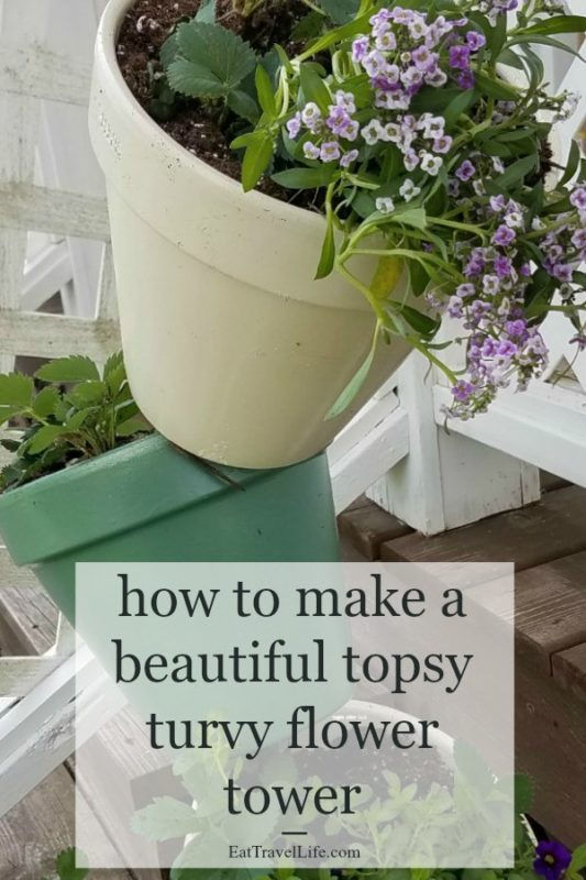 This topsy turvy tower flower pot project is a fun way to add a unique decoration for the front or side of your home. Put flowers in it, use it as a container garden. Great project to do with your family.