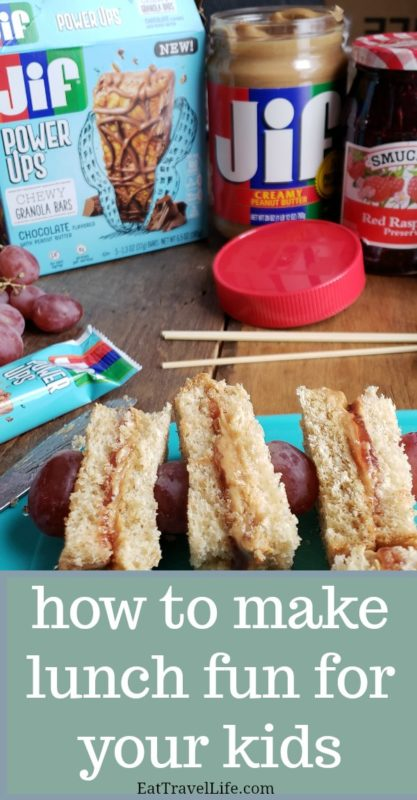 Having problems making lunch for your picky eaters? Check out how you can make peanut butter & jelly kabob fun that you kids will love. #peanutbutter #jelly #sandwichideas #kidslunch #lunchideas #kabobs #funlunch #easylunch
