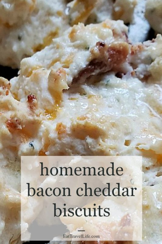 PIN now. Make Later. How will you eat these biscuits? You need to try these crispy delicious bacon cheddar biscuits.  These homemade biscuits are a perfect side for dinner and soup.  Bacon makes it better!
