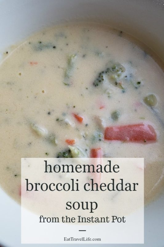 Need an easy soup recipe? Homemade broccoli cheddar soup in the Instant Pot. It makes soup quickly and so delicious. Simple and easy soup.