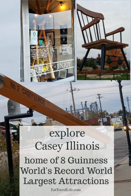 Love Guinness Book attractions? You need to stop into the small town of Casey Illinois & see their Guinness Book World's Largest Attractions. They have eight! See the World's Largest: mailbox, teeter totter, golf tee, wooden shoes (clogs), knitting needles, rocking chair and wind chimes. You can also find a big: ear of corn, pencil, bird cage, minion, yard stick, spinning top, token coin, rocking horse & bookworm. #caseyillinois #worldslargestwindchimes #worldslargestrockingchair #worldslargestknittingneedles #worldslargestmailbox #worldslargestwoodenshoes #worldslargestclogs #worldslargestgolftee #worldslargestteetertotter #worldslargestpitchfork