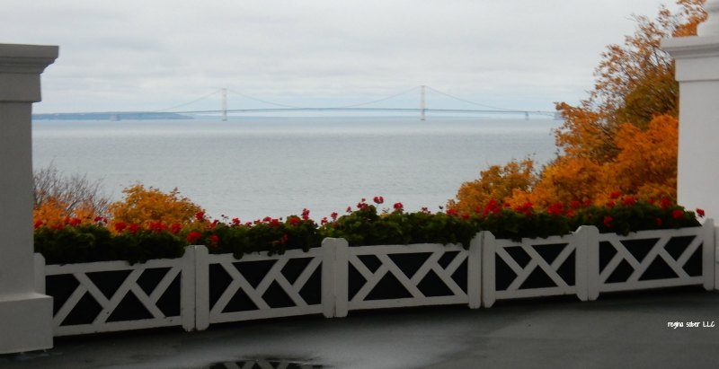 Mackinaw Bridge from the Grand Hotel porch