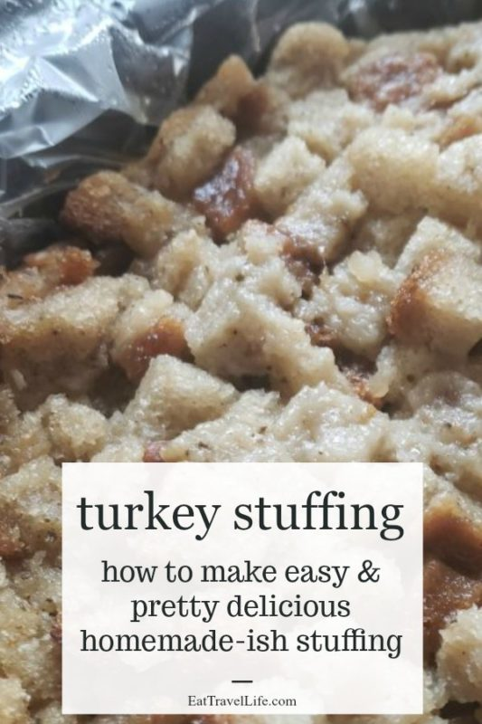 PIN NOW, Make later! Do you enjoy turkey year around? You can make your own turkey stuffing in the slow cooker. Simple and easy and a huge time saver. See how! #turkeystuffing #stuffingrecipe #easyturkeystuffing #slowcookerturkeystuffing #crockpotturkeystuffing #howtomakestuffing #slowcookermeals
