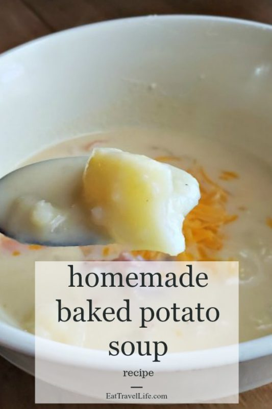 PIN NOW MAKE later. Got leftover baked potatoes?  You will enjoy this easy family favorite.  Baked Potato Soup is easy and simple to make.