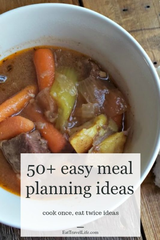 Looking for easy meal planning ideas?  Here is a big list of 50+ meals you can take and turn into a second meal. Lots of leftover ideas on what to make next!