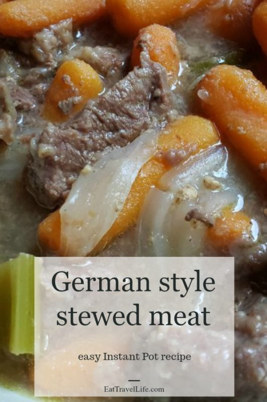 Looking for a delicious easy stew meat recipe that is a time saver? This German style stew meat recipe is perfect for your next Instant Pot dish.