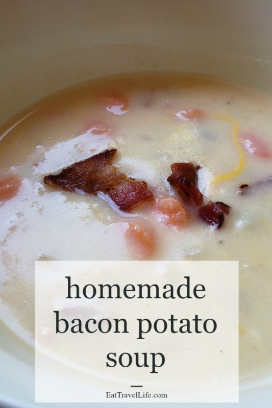 Use your leftovers to make this delicious bacon potato soup. This is an easy recipe that is perfect to make with your left over bacon and potatoes.