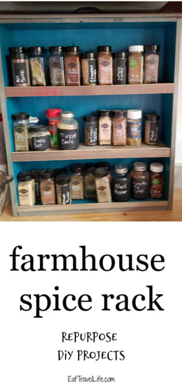 Do you need a farmhouse spice rack? You can make one easily with these instructions. See how you can repurpose an old drawer to make a spice rack.
