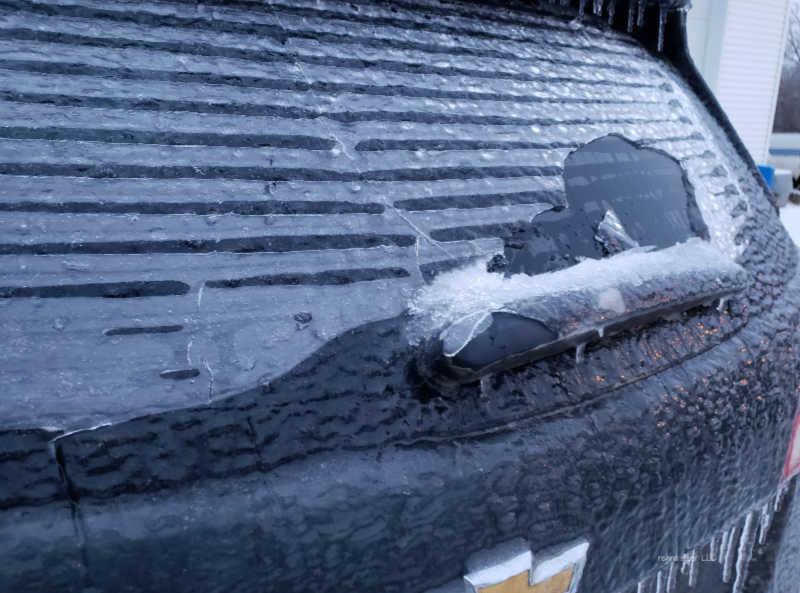 ice on rear vehicle window