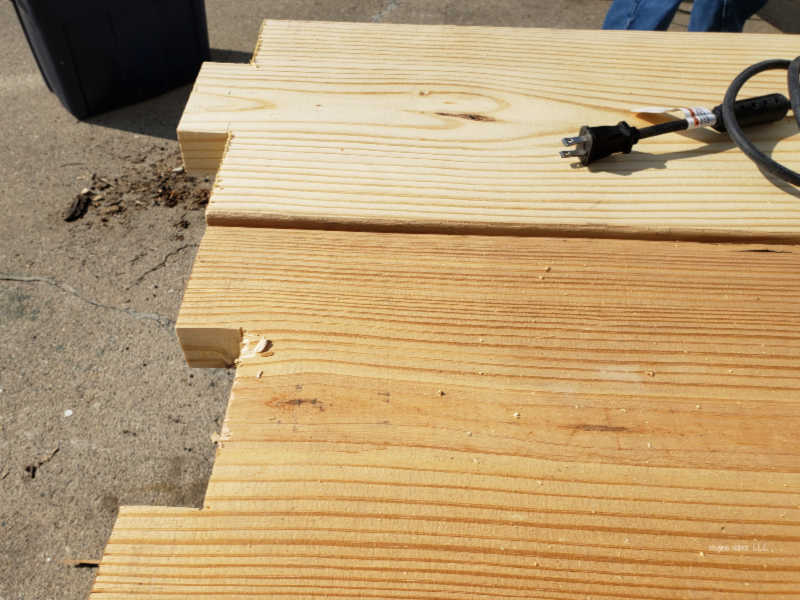 notched garden boards
