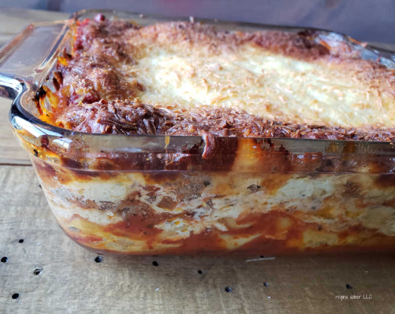 side view of baked lasagna