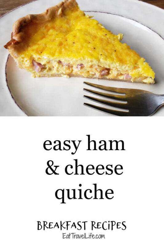 Looking for simple and easy breakfast recipes? Try this easy ham and cheese quiche. Perfect to make for breakfast, brunch or dinner.