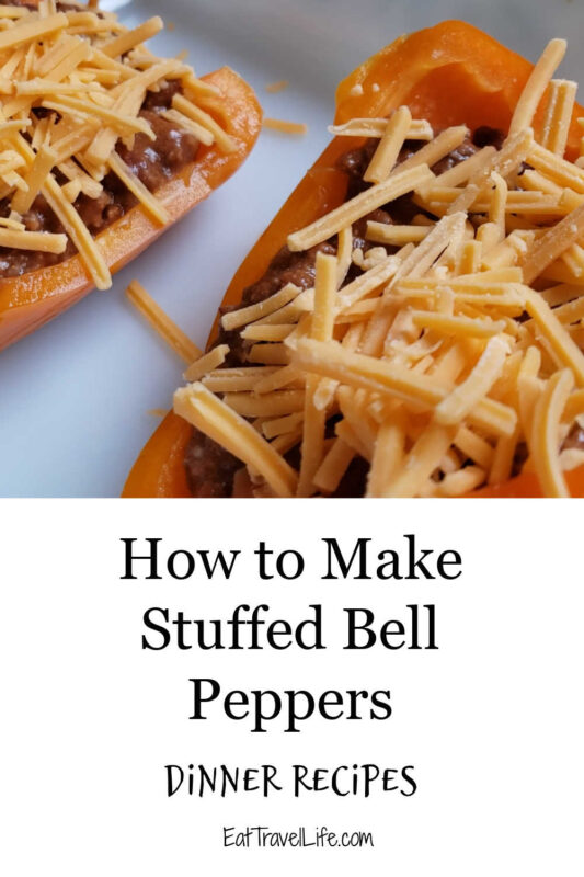 Looking for an inexpensive dinner? You can make delicious stuffed bell peppers for dinner. Great use of leftovers and easy on the budget.