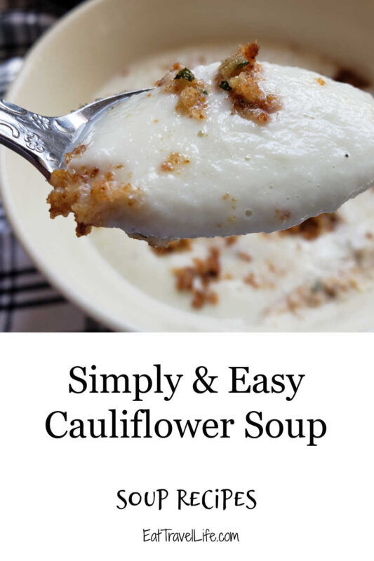 This cauliflower soup recipe is perfect all year round. A light tasting soup, with a crunch with the crumb topping. Bacon makes it awesome!