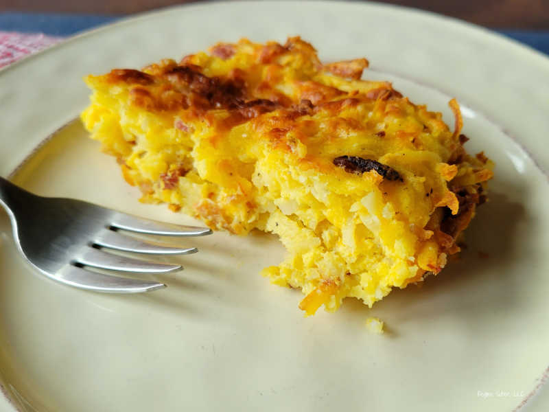 plated bacon egg cheese casserole