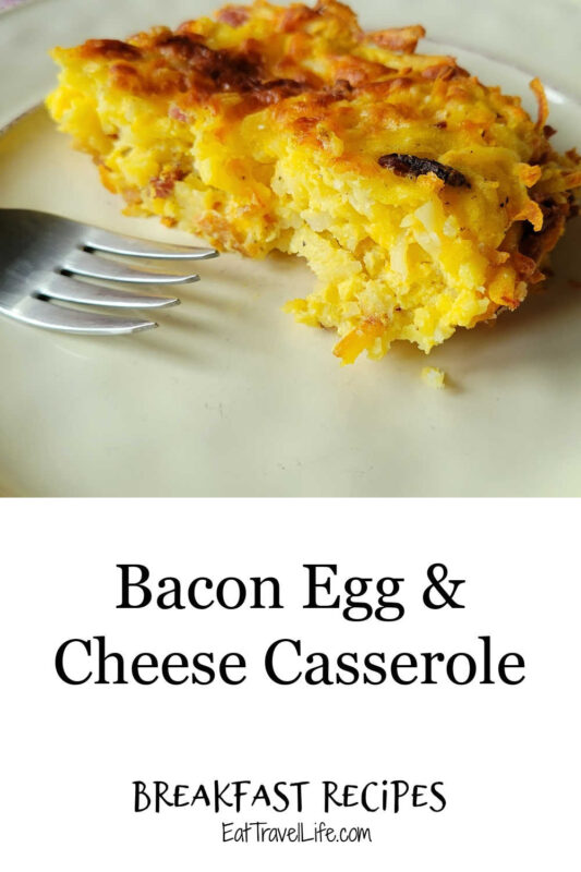 Breakfast casserole is a great way to get all the things you love into one dish. This easy bacon egg & cheese hash brown casserole is a must.