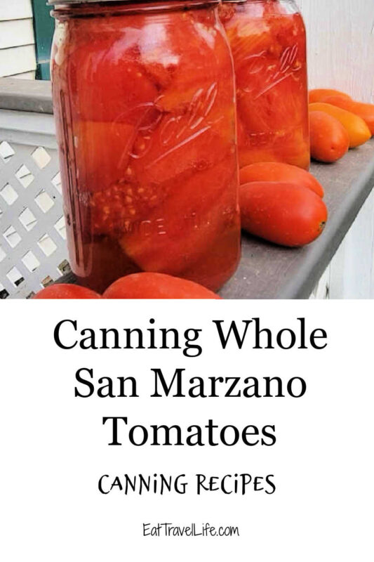 Lots of tomatoes from your garden? You can can whole tomatoes and process them later. Are San Marzano tomatoes your favorite?